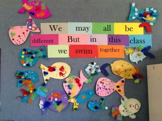 "Cute bulletin board! ""We are all different but the same!"" 