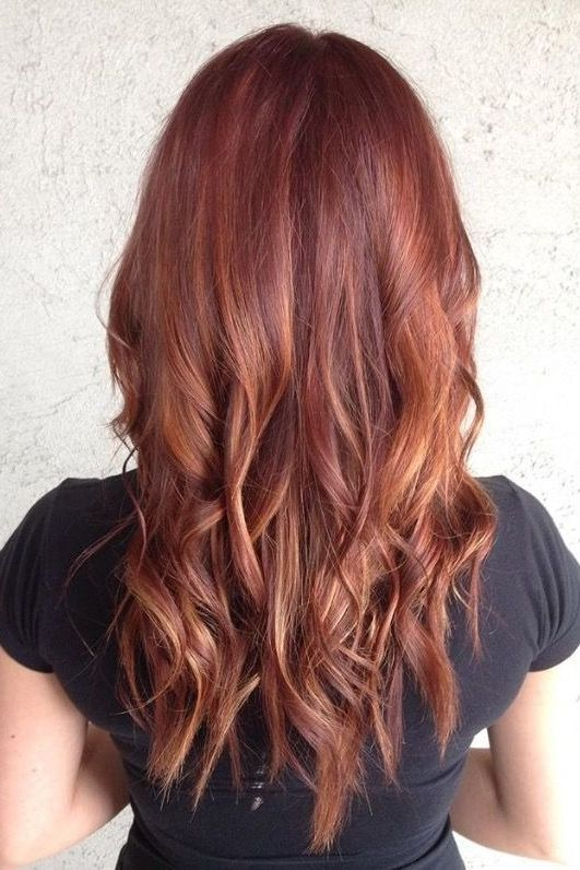 This Stunning Red Ombre Blends Auburn Rose Gold And Blonde For A Long Hairstyle That S Classic But Still Unique Balayage Hair Red Balayage Hair Hair Styles