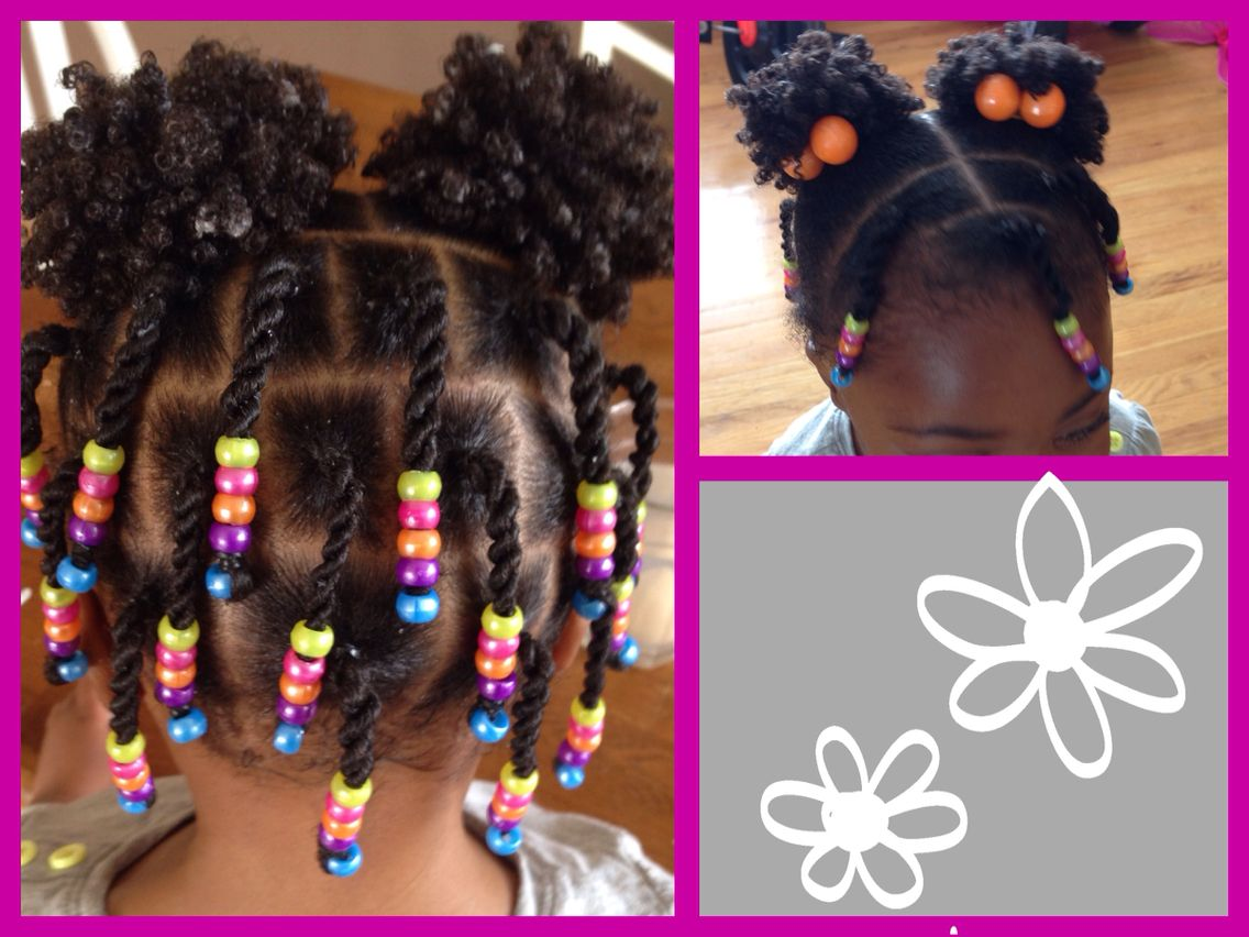 Natural Hair Protective Style Twists Beads And Puffs With