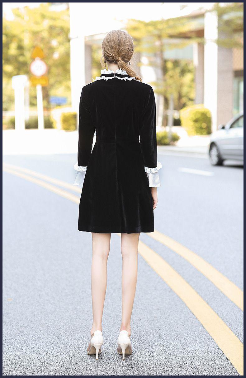 new fall winter runway dress high quality women fashion long