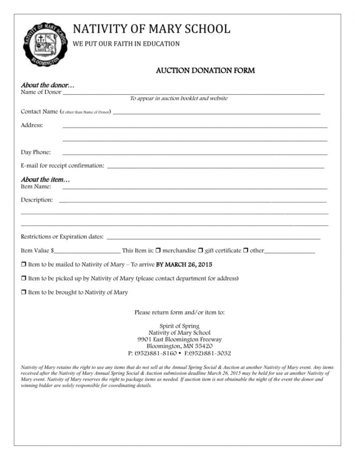 Browse Our Free Silent Auction Donation Receipt Template ...