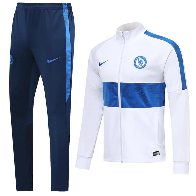 Chelsea 19 20 White Men Jacket Tracksuit Slim Fit Sweat Suits Outfits Full Zip Sweatshirt Casual Tops