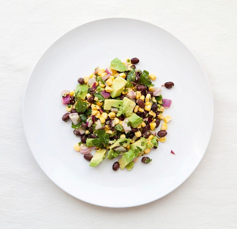 Corn and Black Bean Salad: Toss corn kernels with black beans, sliced green onions, chopped cilantro, diced jalapeno, diced red onion and diced avocado. Season with salt, lime juice, cumin, olive oil and red wine vinegar.