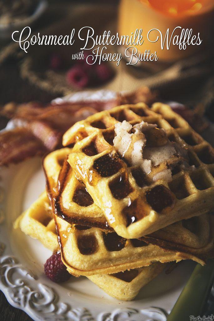 Cornmeal Buttermilk Waffles with Honey Butter Recipe