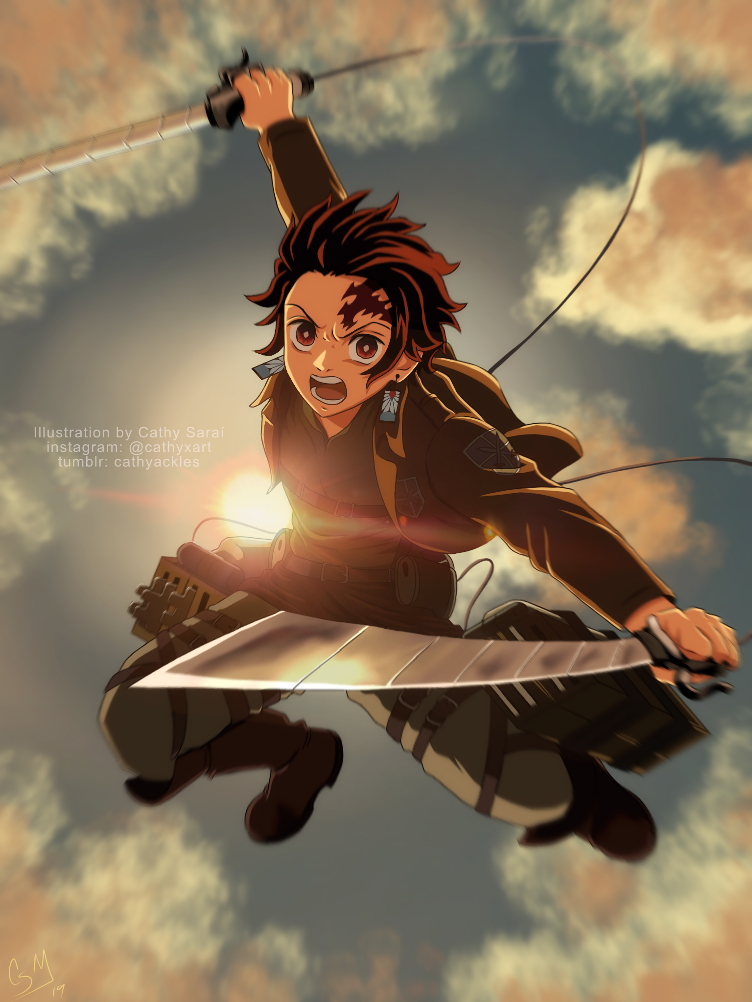 Tanjiro in the Attack on Titan world! Take this as a