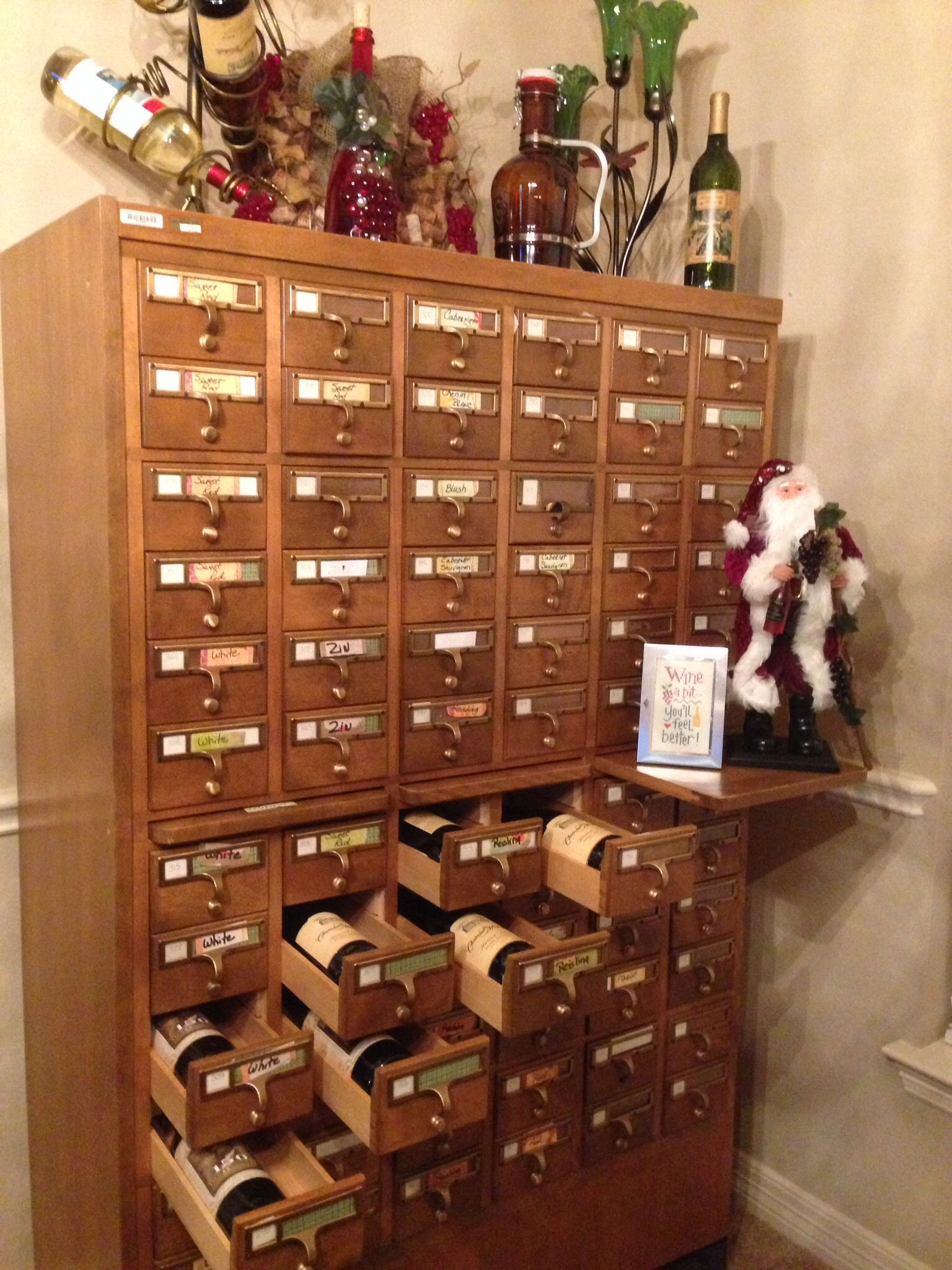 Wine Storage  Holds 72 Bottles  Repurposed Oak Library