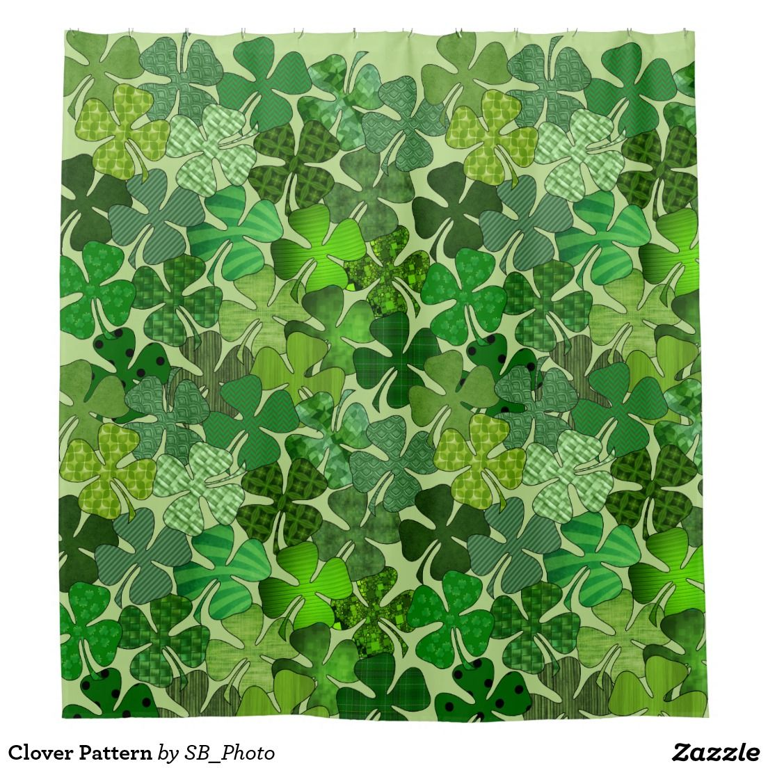 Clover Pattern Shower Curtain Patterned Shower Curtain Curtains
