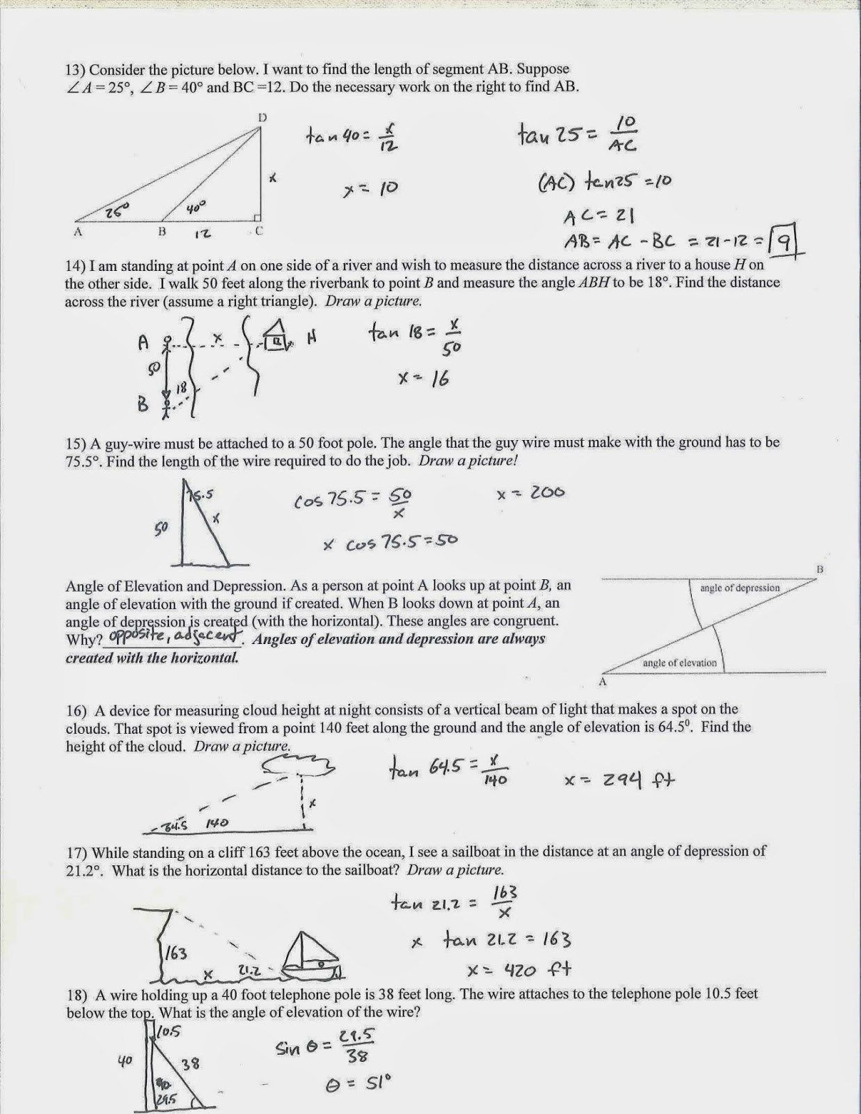 Angle Relationships Worksheet Answers - 50 Angle ...
