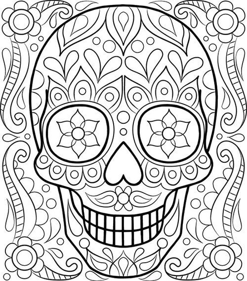 - Free Sugar Skull Coloring Page By Thaneeya McArdle Skull Coloring Pages,  Easy Coloring Pages, Free Adult Coloring Pages