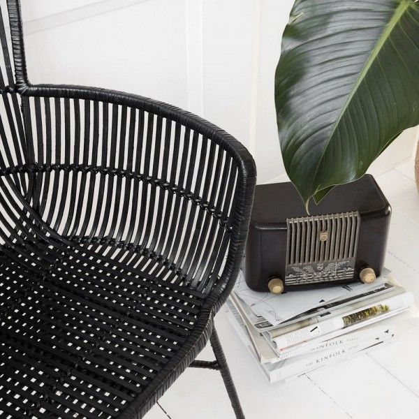 Chaise Rotin Noir Avec Accoudoirs Salle Manger Design House Doctor Coon