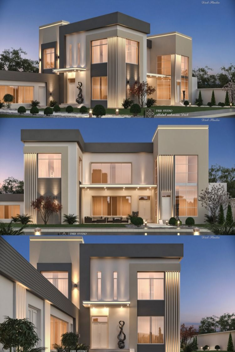 Simple Modern Villa In 2020 Modern House Facades House Outside Design Duplex House Design