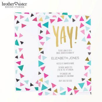 Yay! Triangle Confetti Border Invitations
