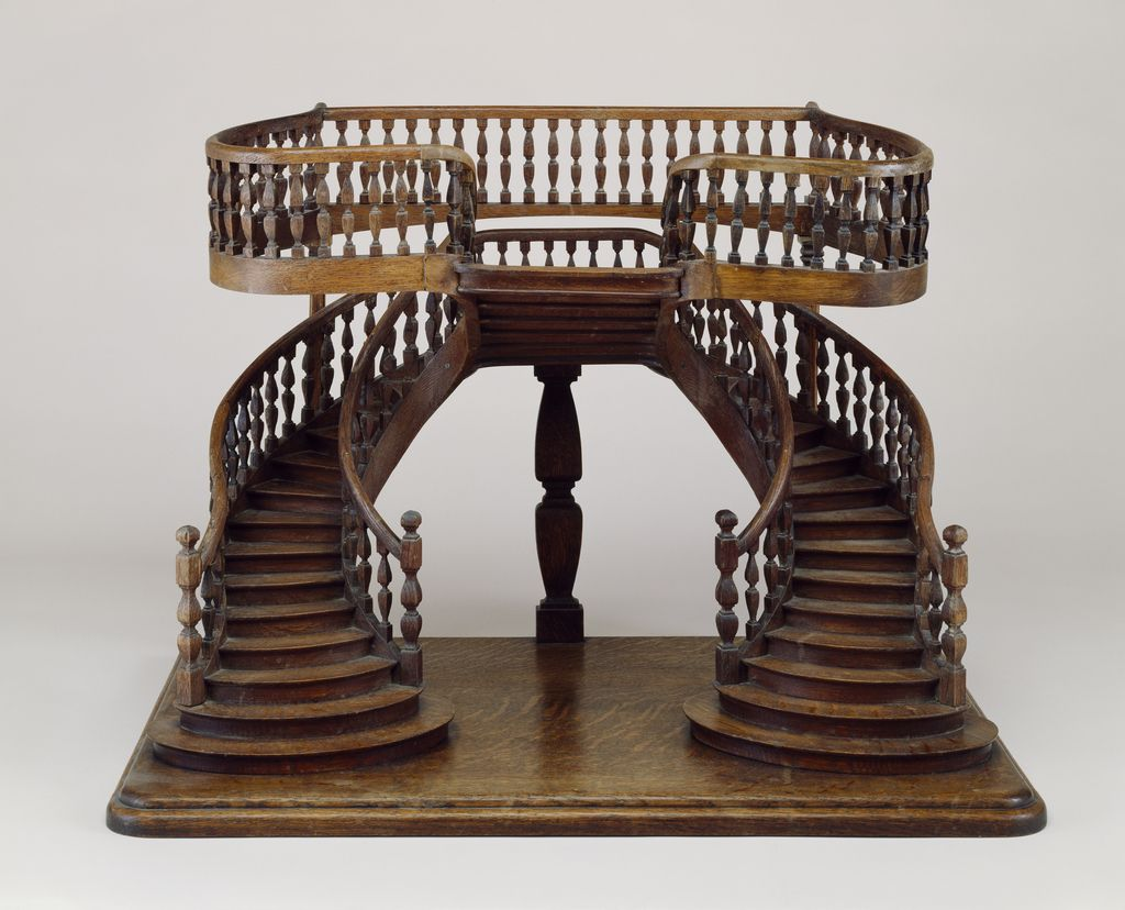Double revolution staircase model with curved double for Double curved staircase