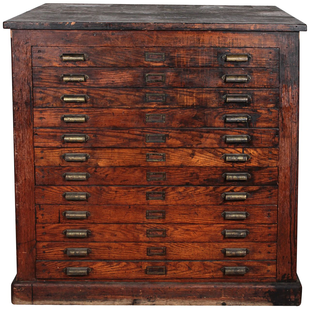 Antique oak printer 39 s flat file cabinet archiveros for Muebles industriales antiguos