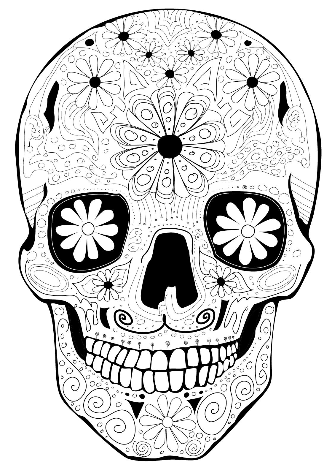 Coloring Page Dia de los Muertos, Calaca | catrinas | Pinterest