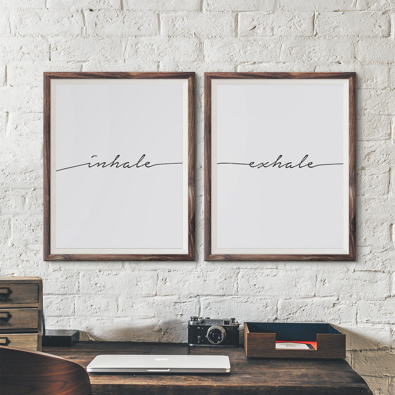 Inhale Exhale Print Breathe Minimalist Typography Art Inspirational Pilates Relaxation Gifts Yoga Wall