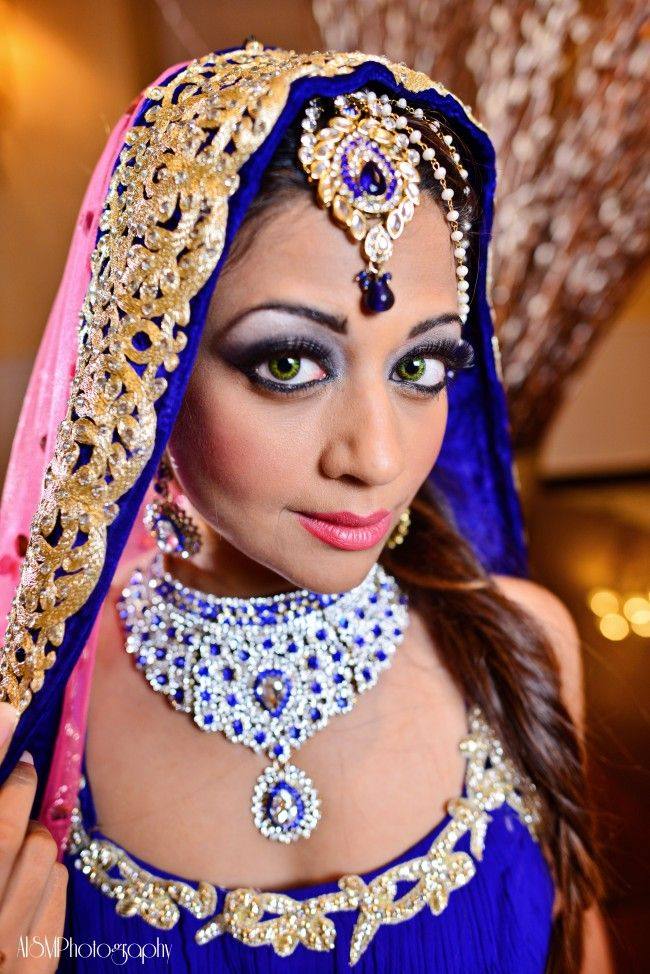 Indian Wedding Makeup And Blue Jewelry Green Eyes Red Lips