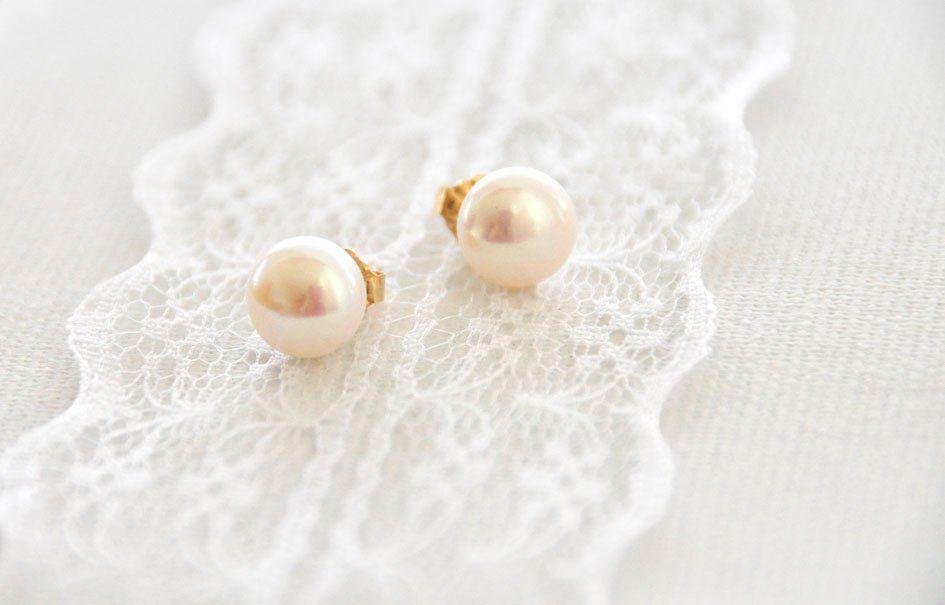 2ced72ee5 Gold Filled Pearl Earrings, Elegant Pearl Earrings, Pearl Stud Earrings,  Wedding Pearl Earrings