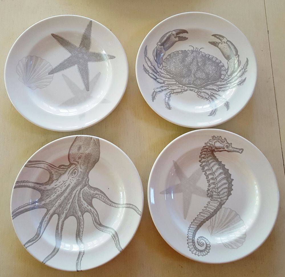 Cape Cod Inspired Beach Cottage: White And Silver Appetizer Plates