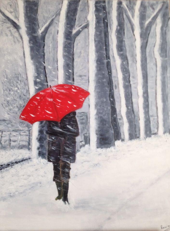 rode paraplu / sneeuw 60x80