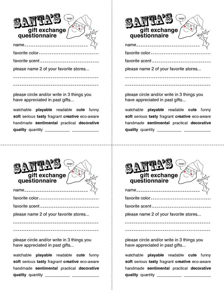 Secret santa gift exchange forms secret santa questionnaire secret santa gift exchange forms secret santa questionnaire templates http pronofoot35fo Images