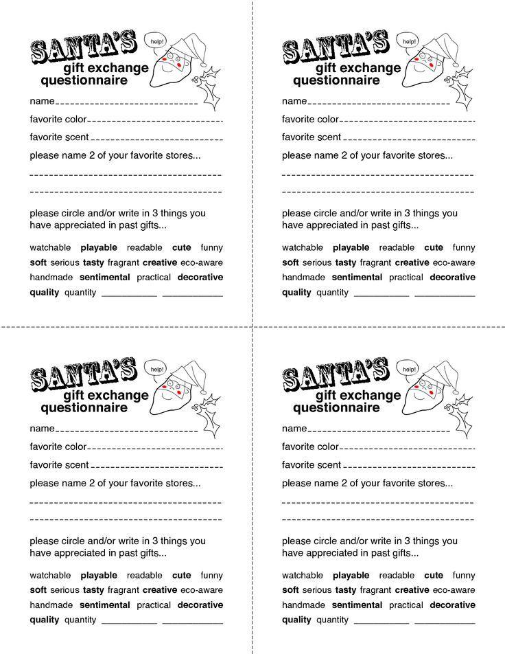 Secret Santa Gift Exchange Forms Secret Santa Questionnaire Templates Www