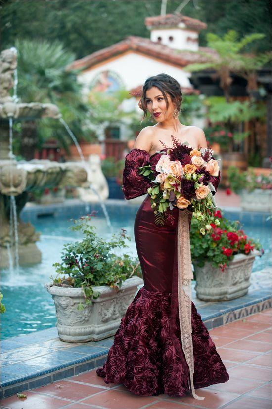 Spandish Wine Red Burgundy Mermaid Wedding Dresses Off The