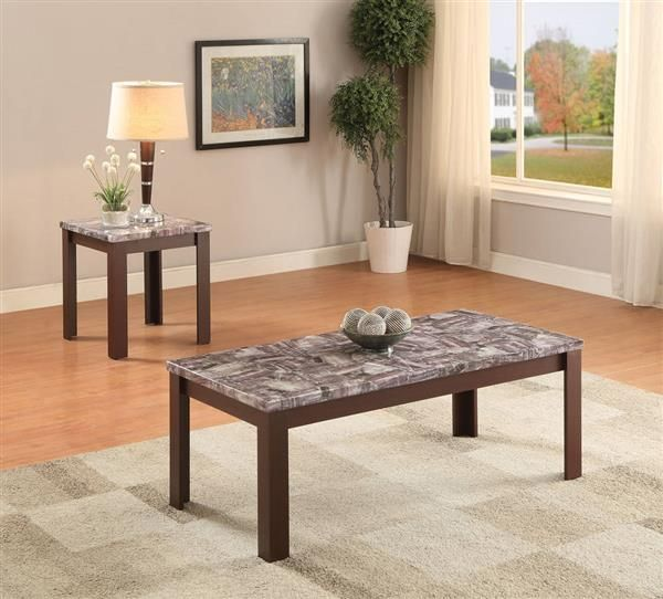 Arabia Cherry Faux Marble Wood 2pc Pack Coffee Table Set