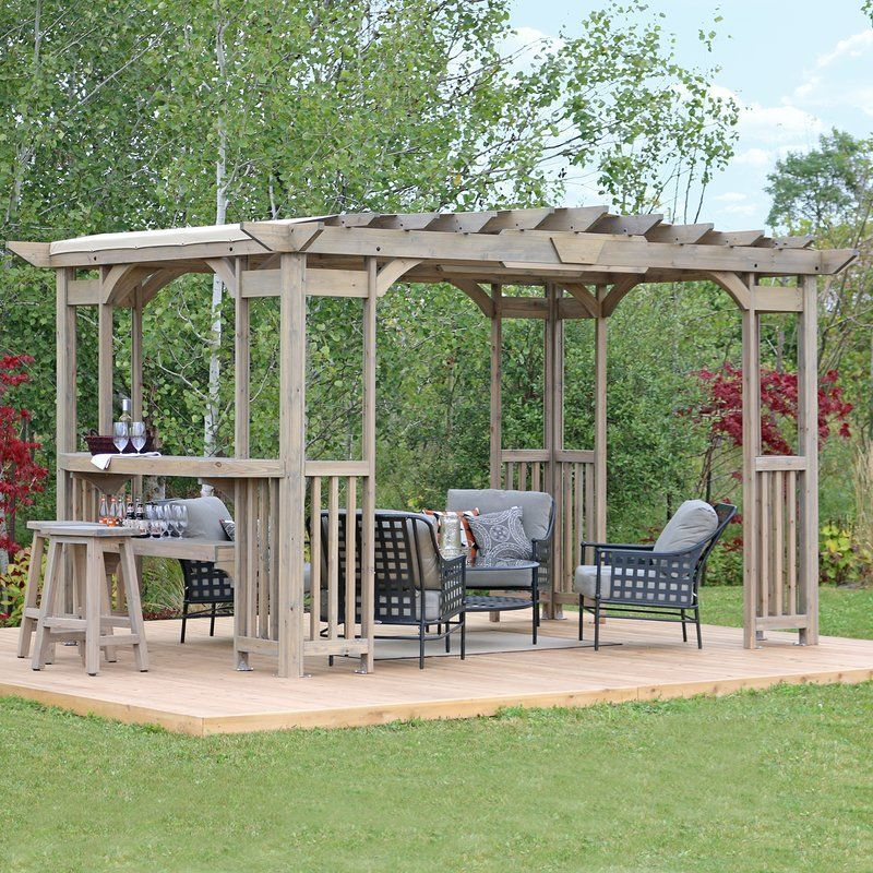 Madison 14 Ft W X 10 Ft D Solid Wood Pergola In 2020 Outdoor Pergola Pergola Pergola Canopy