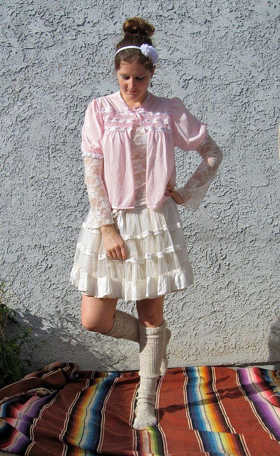 Shabby Chic Lace Vest - Vintage Lingerie Jacket, lolita, kawaii, boho - size M - FREE shipping in USA on Etsy, $12.00