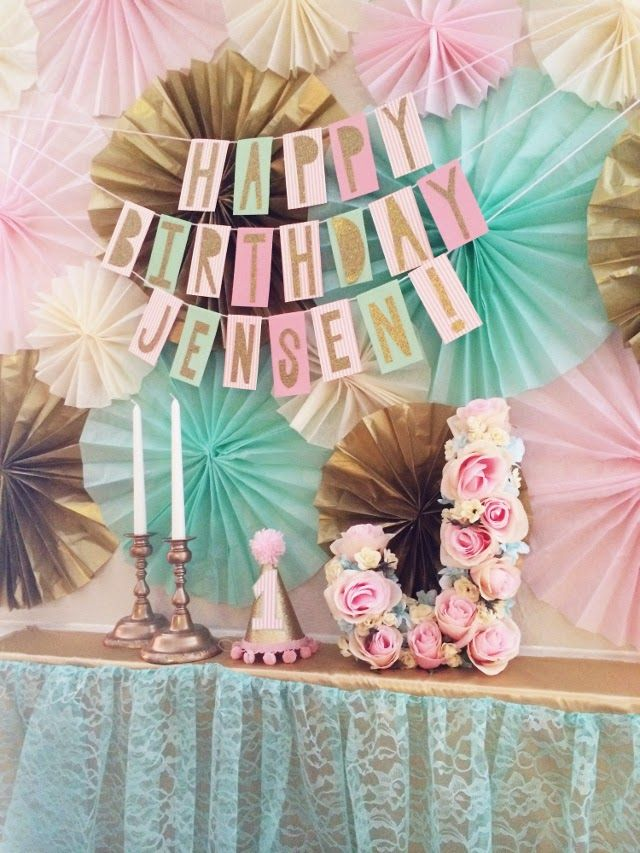 Pink, gold, and aqua color scheme for a girly party! Tissue paper accordion