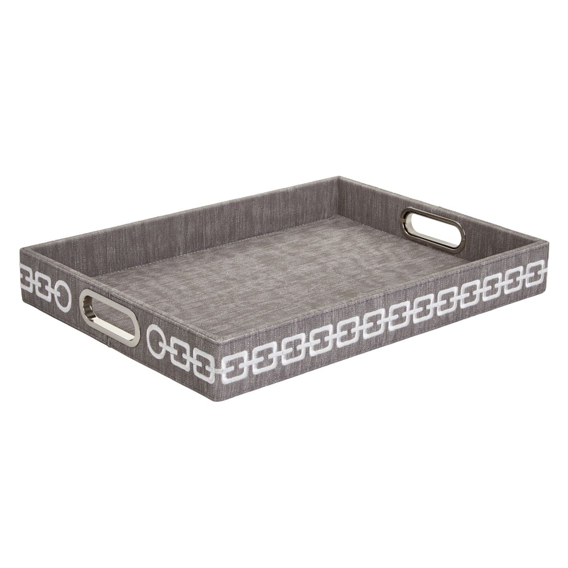 6000 rectangular grey tray with white embroidery by