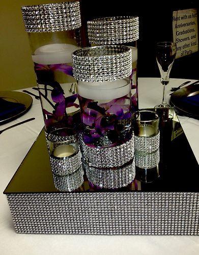 Bling centerpiece riser cake stand squares centerpieces