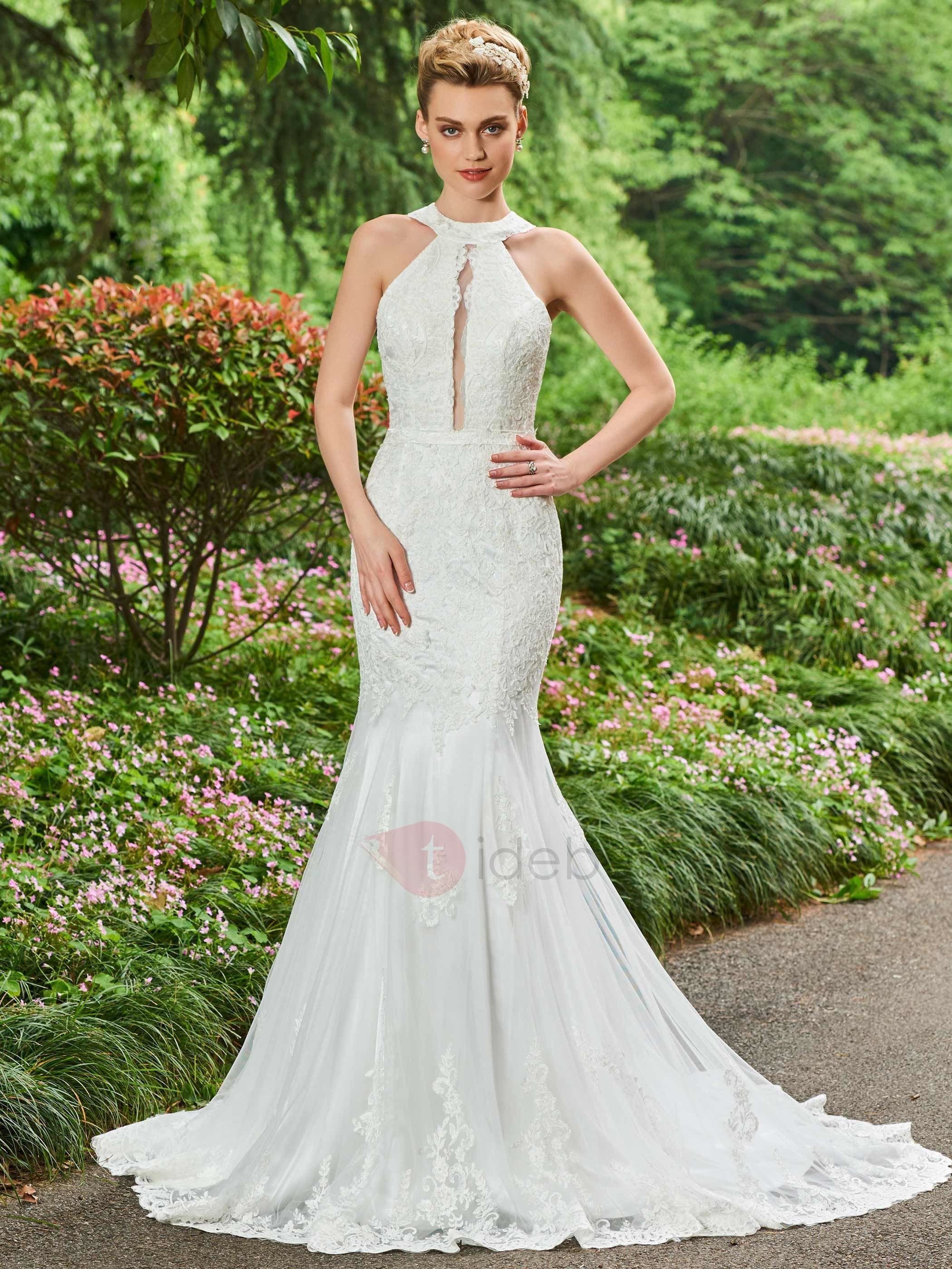 Tidebuy Com Offers High Quality Halter Appliques Lace Mermaid