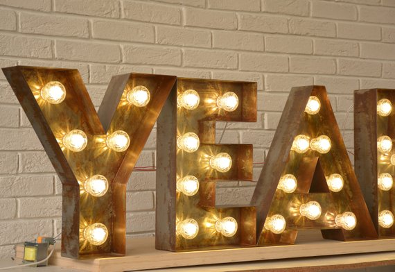 Rustic Letters For Wall Decor Letters Light Up Big Letters Etsy