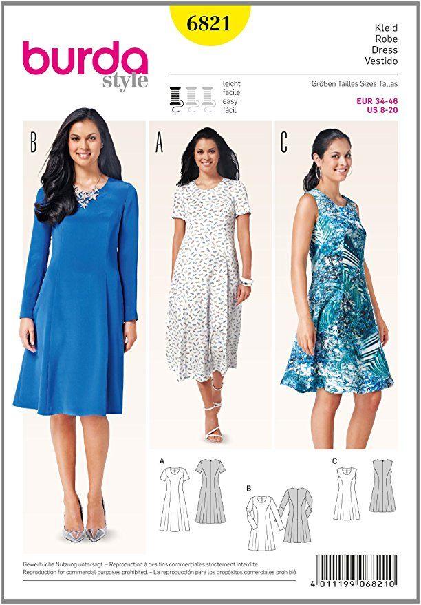 Burda Schnittmuster Kleid 6821 #Affiliate | Nähen | Pinterest