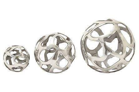 Silver Decorative Balls 3 Piece Set Aluminum Decorative Balls  Main  Vase Filler