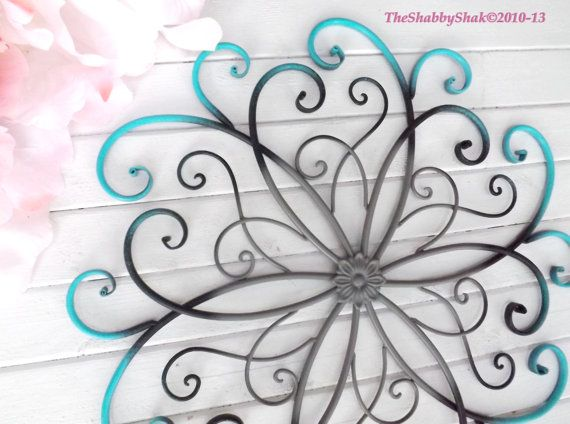 Large Metal Wall Art / Bedroom Wall Decor / Turquoise / Black /Gray Home  Decor Part 79