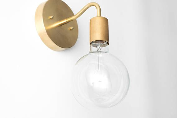 Brass wall sconce globe sconce minimal sconce light gold wall