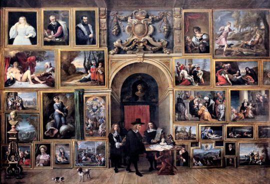 L'archiduc Léopold Guillaume dans son cabinet de peintures italiennes, David Teniers le Jeune.  Photo: cchttp://bit.ly/1MyvQhU