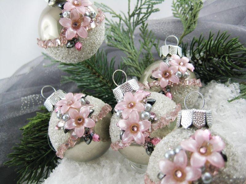 5er set mini christbaumkugeln grau rosa bl ten von queensmade auf handmade - Christbaumkugeln grau ...