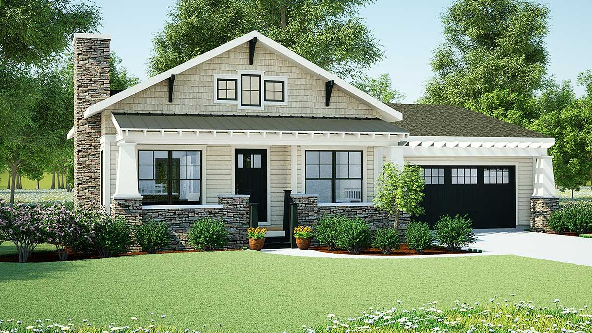Plan 18267be Simply Simple One Story Bungalow Craftsman House House Plans Small House Plans