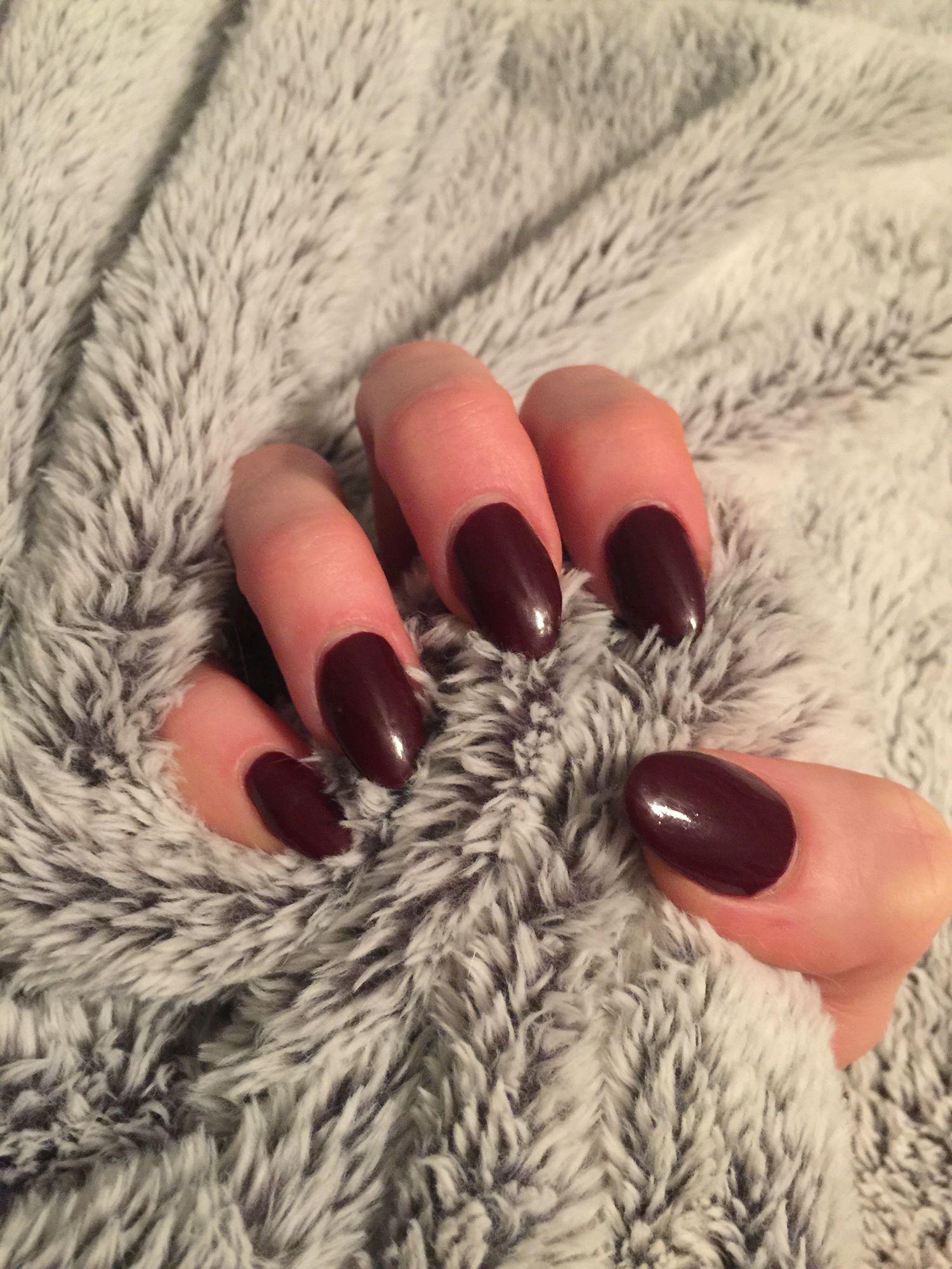 Dark red nail polish on almond nails - S | Nails | Pinterest | Dark ...