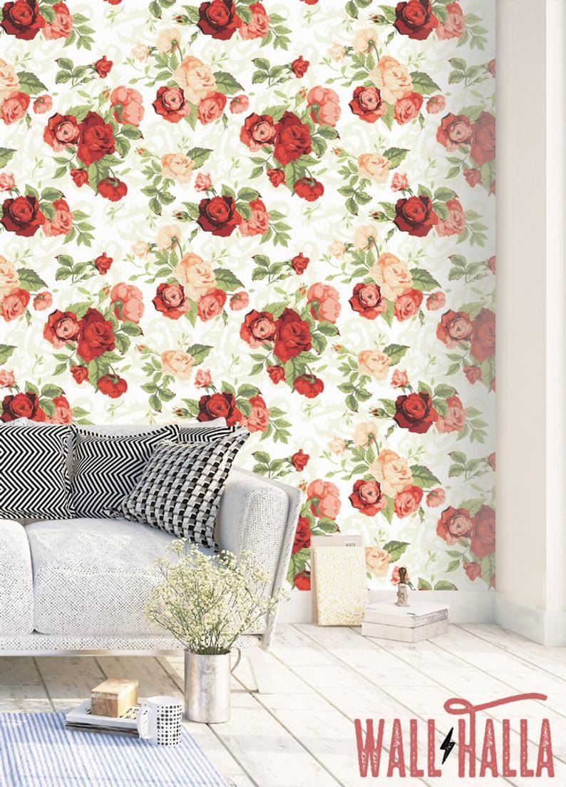 Rose Flower Wallpaper Removable Wallpaper Vintage Red Roses Flower Wallpaper Floral Print Tropical Peel And Stick Wallpaper Wallpapers Vintage Rose Flower Wallpaper Removable Wallpaper