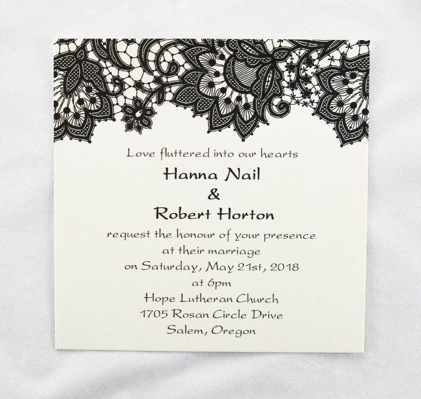 size 148 5mm square vintage elegant black thermographic wedding