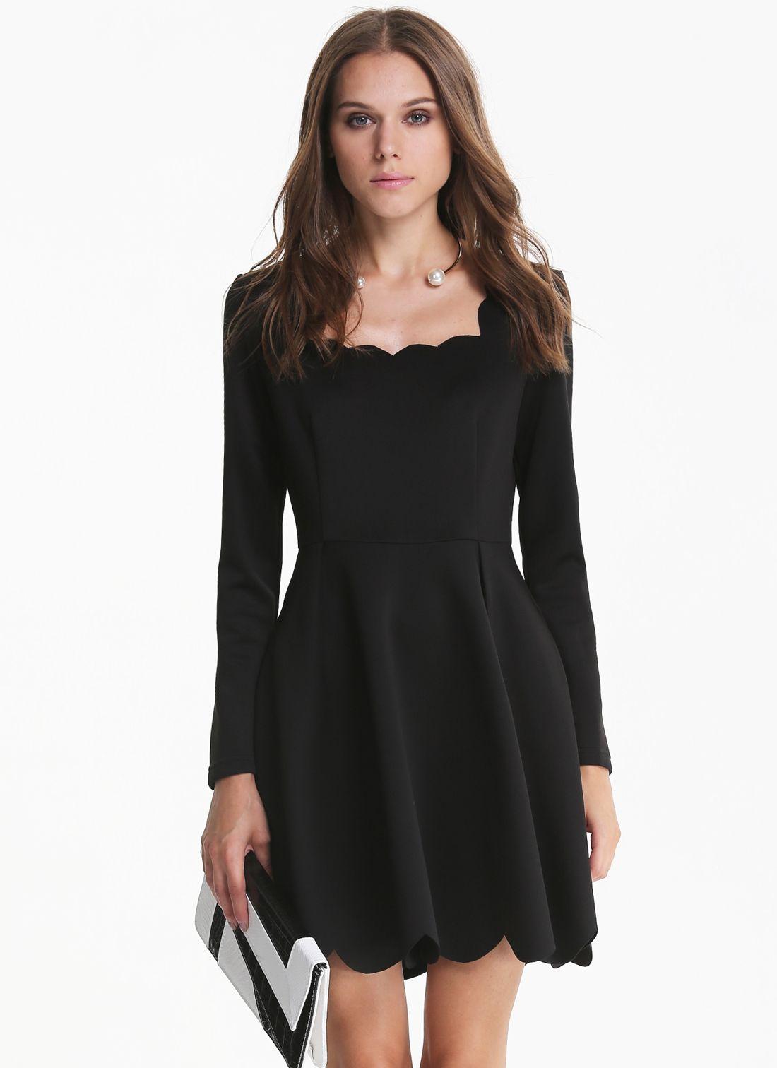 Vestido sin espalda manga larga-negro