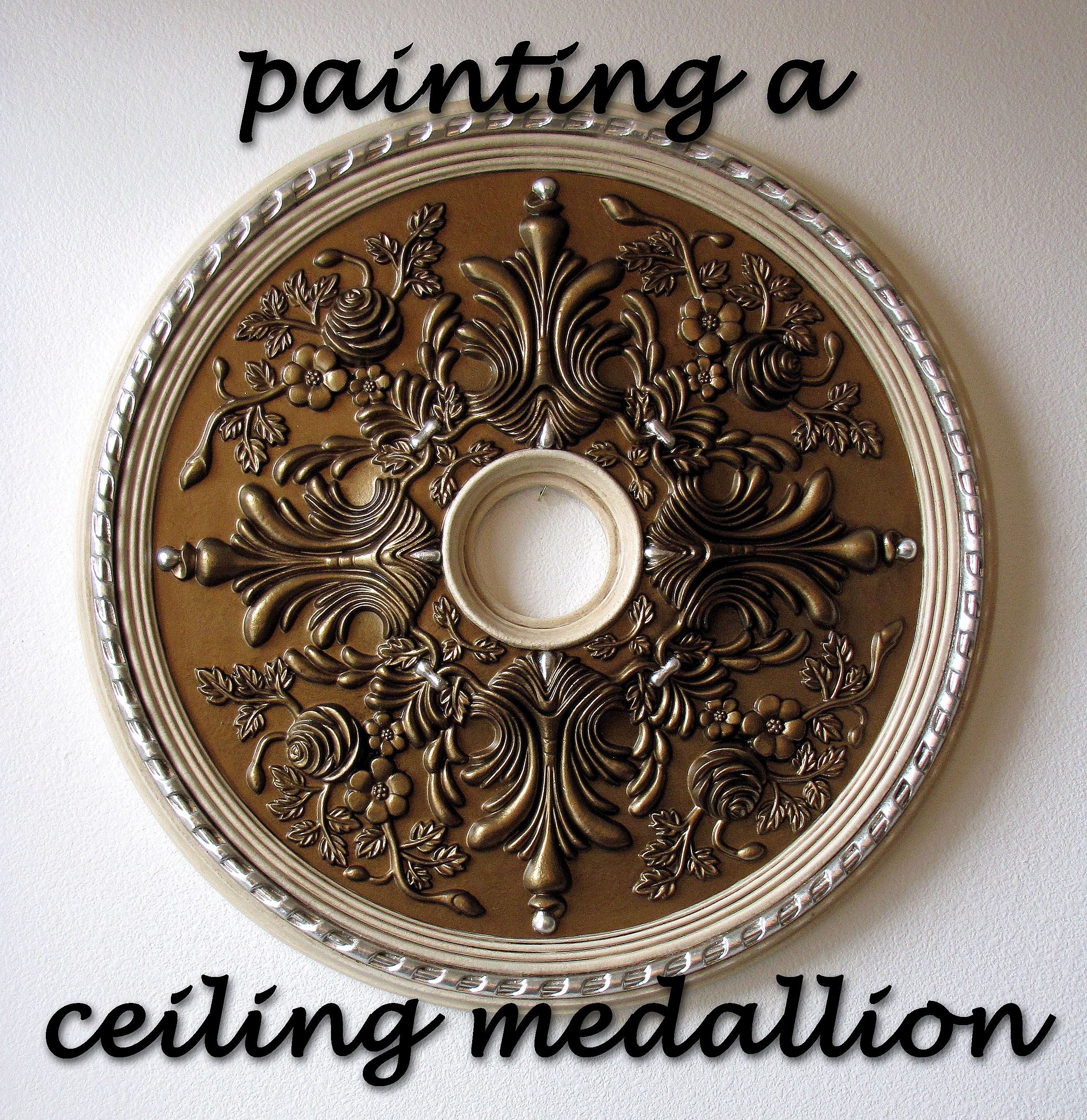 How To Paint A Ceiling Medallion Ceiling Medallions Diy Painted Ceiling Ceiling Medallions