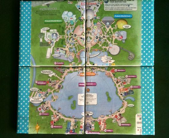 EPCOT decorative coasters, EPCOT map coasters, Disney coasters, Disney theme park coasters, Disney park maps, Disney gifts, blue coasters