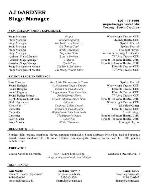 Stage Management Resume theatre Pinterest - stage management resume