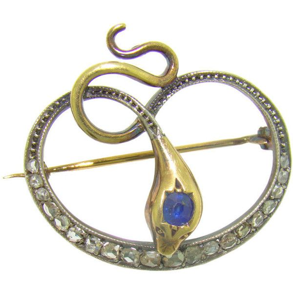 Victorian Snake Brooch Silver On Yellow Gold Diamond And Sapphire
